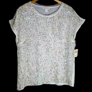 Sequins top blouse cream sheer Coldwater Creek